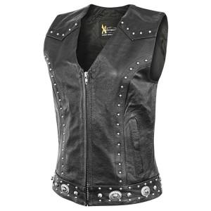 Xelement Womens Dakota Leather Motorcycle Vest XS-926