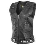 Xelement Womens Dakota Leather Motorcycle Vest XS-926