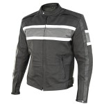 Xelement Men's Scrambler Black/Gray Matte Leather Motorcycle Jacket XS-117-308