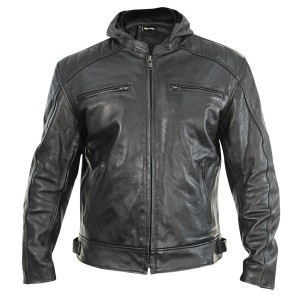 Xelement Men's Throttle Boss Black Leather Motorcycle Jacket with Hoodie XS-913
