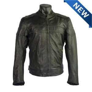 Naked Cowhide Leather Motorcycle Jacket with CE Armor MJ535