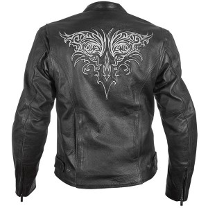 Xelement Women's Tribal Armored Collarless Motorcycle Jacket with Hoodie XS-2086