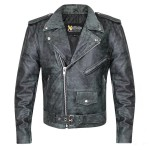 Xelement Classic Distressed Black Leather Jacket B-7166