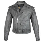 Xelement Men's Classic Distressed Gray Leather Jacket with Gun Pockets B7149