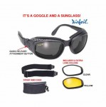 Airfoil Black Convertible Goggle And Sunglass With 3 Removable Polycarbonate Lens With UV 400 Protec
