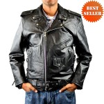 Mens Tall Classic Leather Motorcycle Jacket MJ400Tall