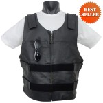Bullet Proof Style Leather Motorcycle Vest with Zipper Front MV101