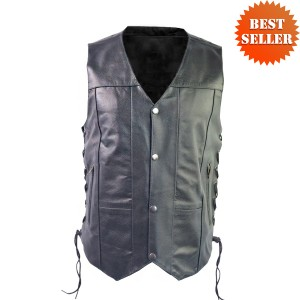 Men's 10 Pocket Leather Motorcycle Vest MV106