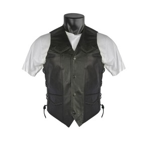 Men's Braided Leather Motorcycle Vests with Side Laces MV301