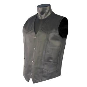Men's Plain Leather Motorcycle Vest MV102