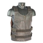 Premium Brown Bullet Proof Style Leather Vest Detour 8201