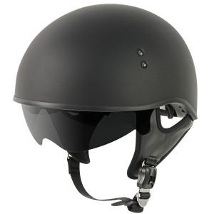 Outlaw V5-05 Flat Black with Visor Motorcycle Half Helmet