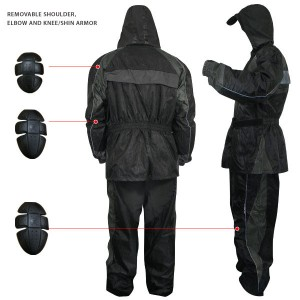 Armored Black Two-Piece Armored Rainsuit 4727
