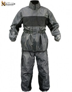Xelement Men's 2 Piece Gray and Black Motorcycle Rainsuit RN4793
