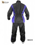 Xelement Mens 2 Piece Black and Blue Motorcycle Rainsuit With Boot Strap RN4768