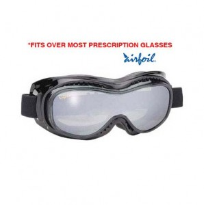Airfoil Black Goggles With Anti Fog Smoke Silver Mirror Polycarbonate Lens With UV 400 Protection