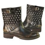 Xelemenet Mens Engineer Stud Leather Boots LU8030