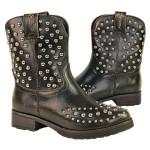 Xelemenet Womens Cowgirl Stud Leather Boots LU8032