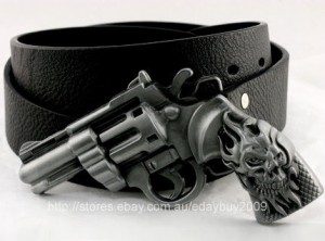 Cool Colt 45 Pistol Gun Handgun Skull Men Boy Buckle Super Genuine Leather Belt