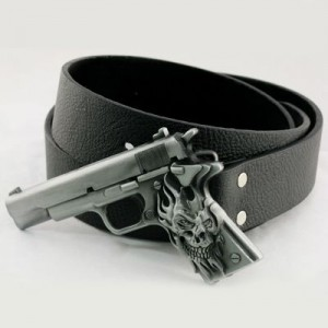 Pistol Gun Handgun Revolver Skull Buckle Leather Belt