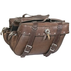 Xelement 2918-BR Brown Distressed-Leather Motorcycle Saddle Bags