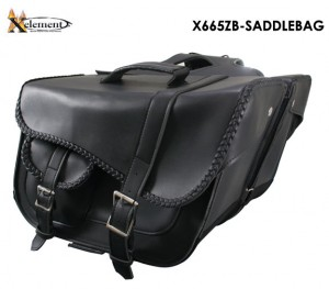 Xelement Black Braided Motorcycle Saddlebag With Outer Pocket X665ZB
