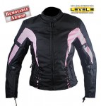 Ladies Black and Pink Tri-Tex? Fabric Vented Motorcycle Jacket with Level-3 Advanced Armor cf433
