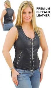 Eyelet Trim Zip Front Leather Vest VL2682ELZK-03=M