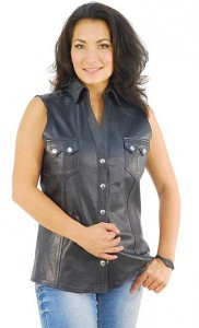Womens Sleeveless Black Leather Shirt LS10121K