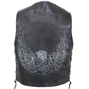 Xelement B-96403 Black Distressed-Leather Biker Vest with Flying-Skull Graphics B-96403
