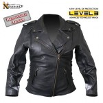 Ladies Classic Cowhide Motorcycle Leather Jacket with Level-3 Advanced Armor B8301