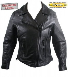 Ladies Level-3 Armored Braided Premium Leather Motorcycle Jackets B7883