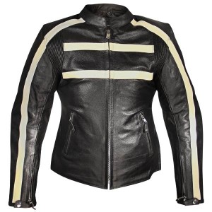 Xelement Armored Womens Black Leather Stripe Speedster Motorcycle Jacket XS-117