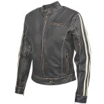 Xelement BXU-100530 Women's Dark-Brown Vintage Motorcycle Jacket with Beige Stripes