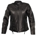 Xelement Women's Embroide red Steer Head Flower Motorcycle Leather Jacket XS-202775