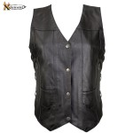10 Pocket Ladies Cowhide Leather Motorcycle Vest B26675
