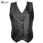 10 Pocket Ladies Cowhide Leather Motorcycle Vest B26675