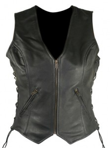 Classic Ladies Side Lace Cowhide Leather Vests B277