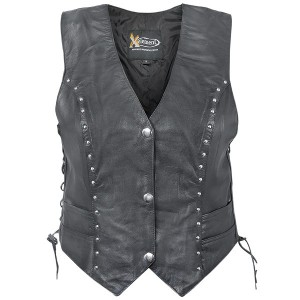 Xelement XS-628 Womens Studded Biker Leather Vest  XS-628