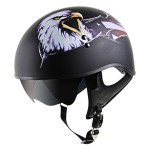 Outlaw V5-15 Eagle Flat Black with Visor Motorcycle Half Helmet