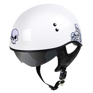 Outlaw V5-25 White Skulls with Visor Motorcycle Half Helmet