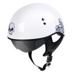 Outlaw V5-25 White Skulls with Visor Motorcycle Half Helmet