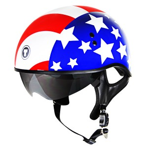 Outlaw V5-28 Homeland USA with Visor Motorcycle Half Helmet