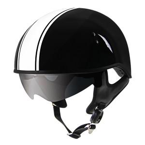 Outlaw V5-38 White Strip with Visor Motorcycle Half Helmet