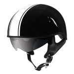 Outlaw V5-38 White Strip with Visor Motorcycle Half Helmet
