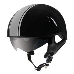 Outlaw V5-38 Grey Strip with Visor Motorcycle Half Helmet