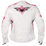 Xelement Women's Reflective Tribal Heart White/Pink Tri-Tex Armored Motorcycle Jacket BXU358924