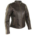 Xelement Womens Armored Dark Brown Leather Motorcycle Jacket with Beige Stripes BXU1726