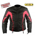 Ladies Black and Red Tri-Tex Fabric Vented Motorcycle Jacket with Level-3 Advanced Armor CF-426