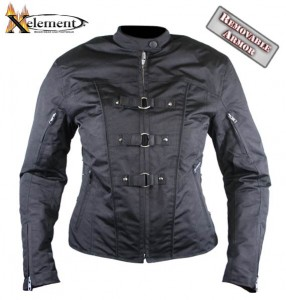 Women's Removable Armor Black Tri-Tex? Fabric Motorcycle Jacket by Xelement CF-600
